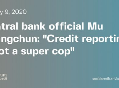 China Social Credit System: Financial credit reporting